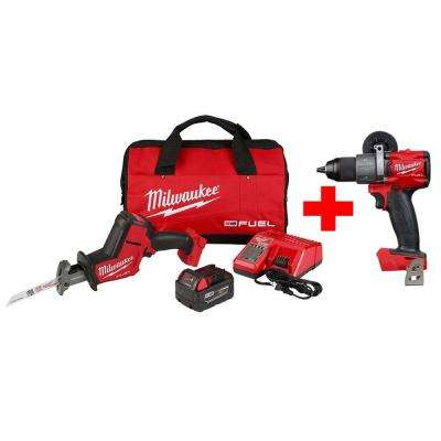 M18 FUEL 18-Volt Lithium-Ion Brushless Cordless HACKZALL Reciprocating Saw Kit with Free M18 FUEL Hammer Drill