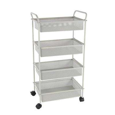 4-Tiered Matte White Iron Mesh Wheeled Cart