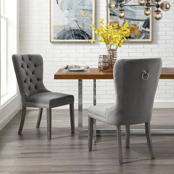Inspired Home Nevaeh Grey Velvet Ring Handle Nailhead Dining Chair (Set