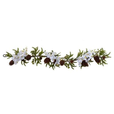 60 in. Phalaenopsis Orchid and Pine Garland