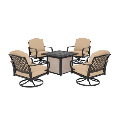 Laurel Oaks 5-Piece Brown Steel Outdoor Patio Fire Pit Seating Set with Sunbrella Beige Tan Cushions