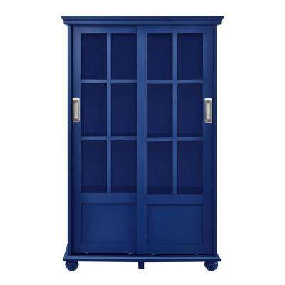 Abel Place Navy Glass Door Bookcase