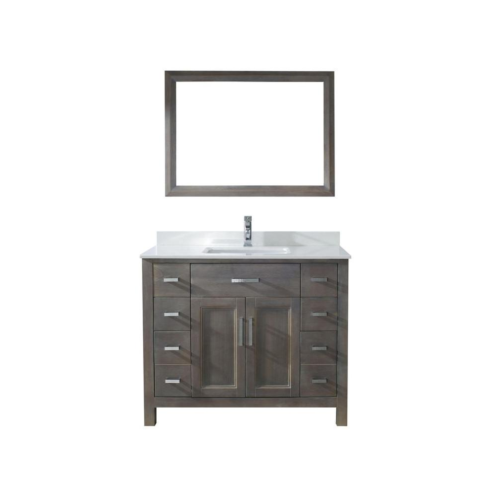 Studio Bathe Kelly In Vanity In French Gray With Solid Surface - 42 gray bathroom vanity