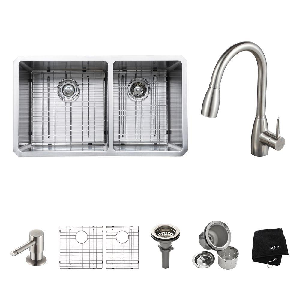 KRAUS All-in-One Undermount Stainless Steel 33 in. Double Bowl Kitchen Sink with Faucet and Accessories in Stainless Steel