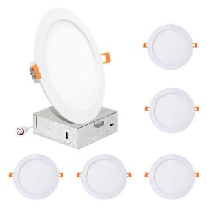 6 in. Round Color Selectable 5CCT New Construction or Remodel IC Rated Canless Integrated LED Recessed Light Kit White