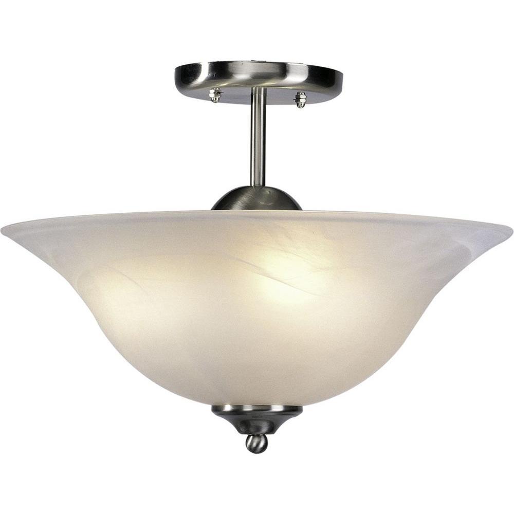 Minster 3-Light Brushed Nickel Interior Semi-Flush Mount