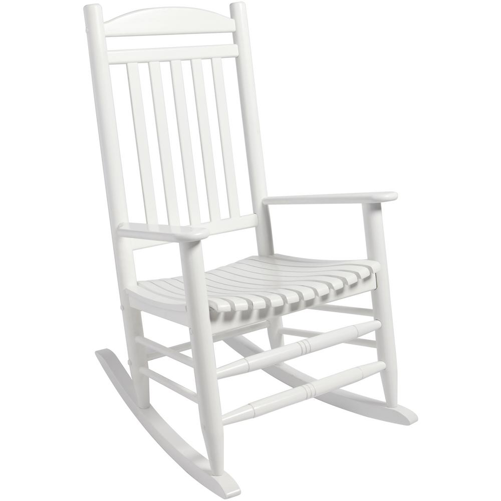 Pleasing Hampton Bay White Wood Outdoor Rocking Chair Pdpeps Interior Chair Design Pdpepsorg