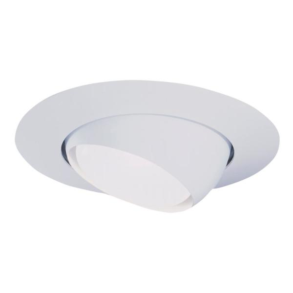 6 in. White Recessed Ceiling Light Trim with Adjustable Eyeball