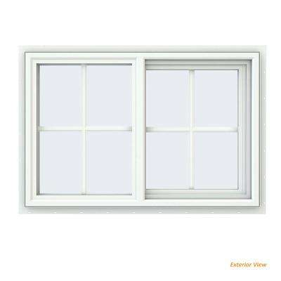 35.5 in. x 23.5 in. V-4500 Series White Vinyl Right-Handed Sliding Window with Colonial Grids/Grilles