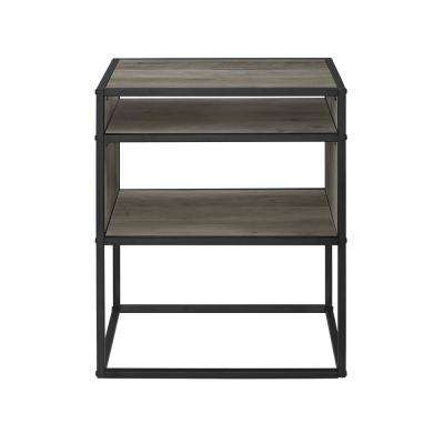 20 in. Grey Wash Metal and Wood Side Table with Open Shelf