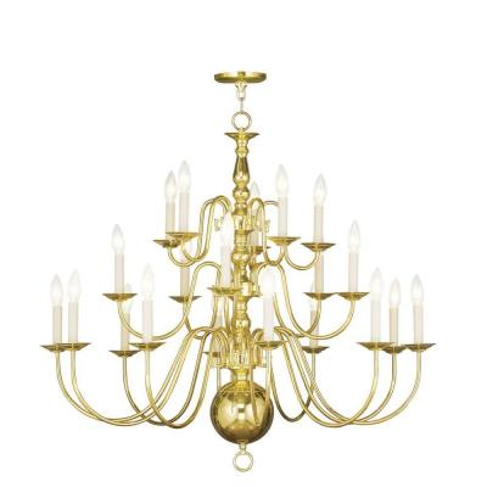 20-Light Polished Brass Chandelier