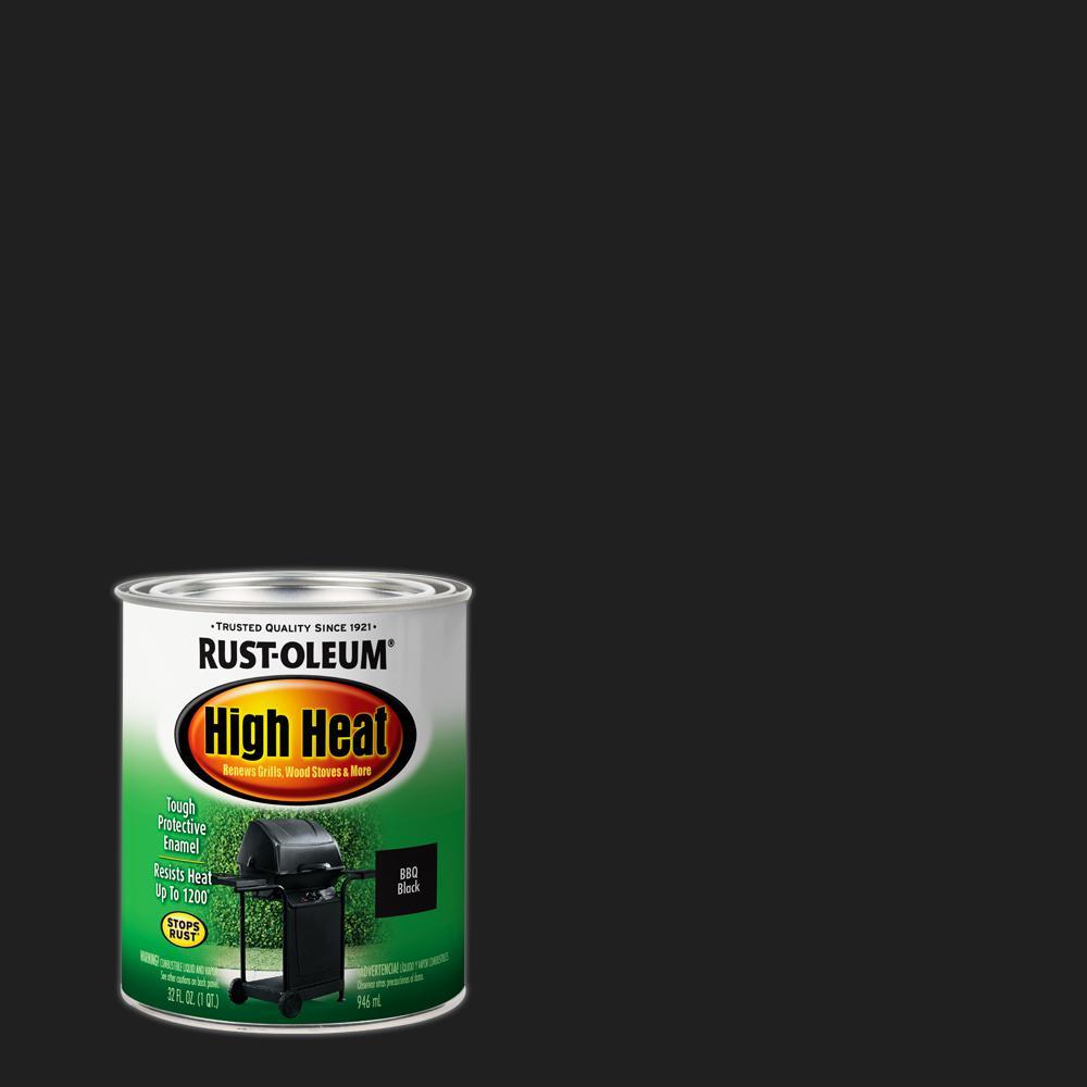 1 qt. Bar-B-Que Satin Black High Heat Enamel Interior/Exterior Paint (2-Pack)