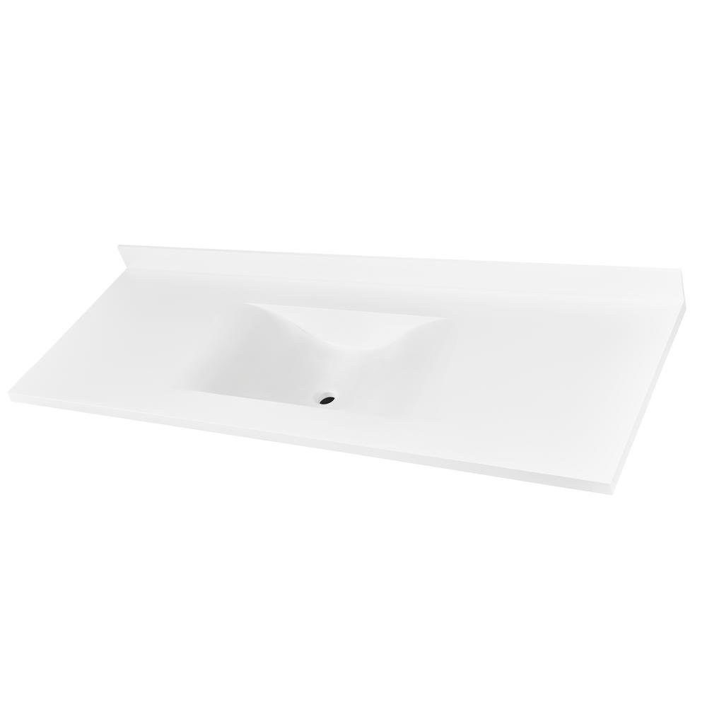 W Single Basin Vanity Top in Glacier White with Glacier White Basin