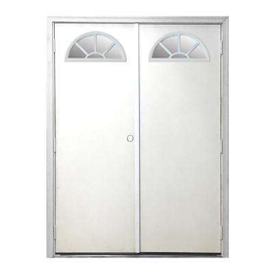 60 in. x 80 in. Garden Shed Fan Lite White Primed Right-Hand Outswing Fiberglass Prehung Front Door