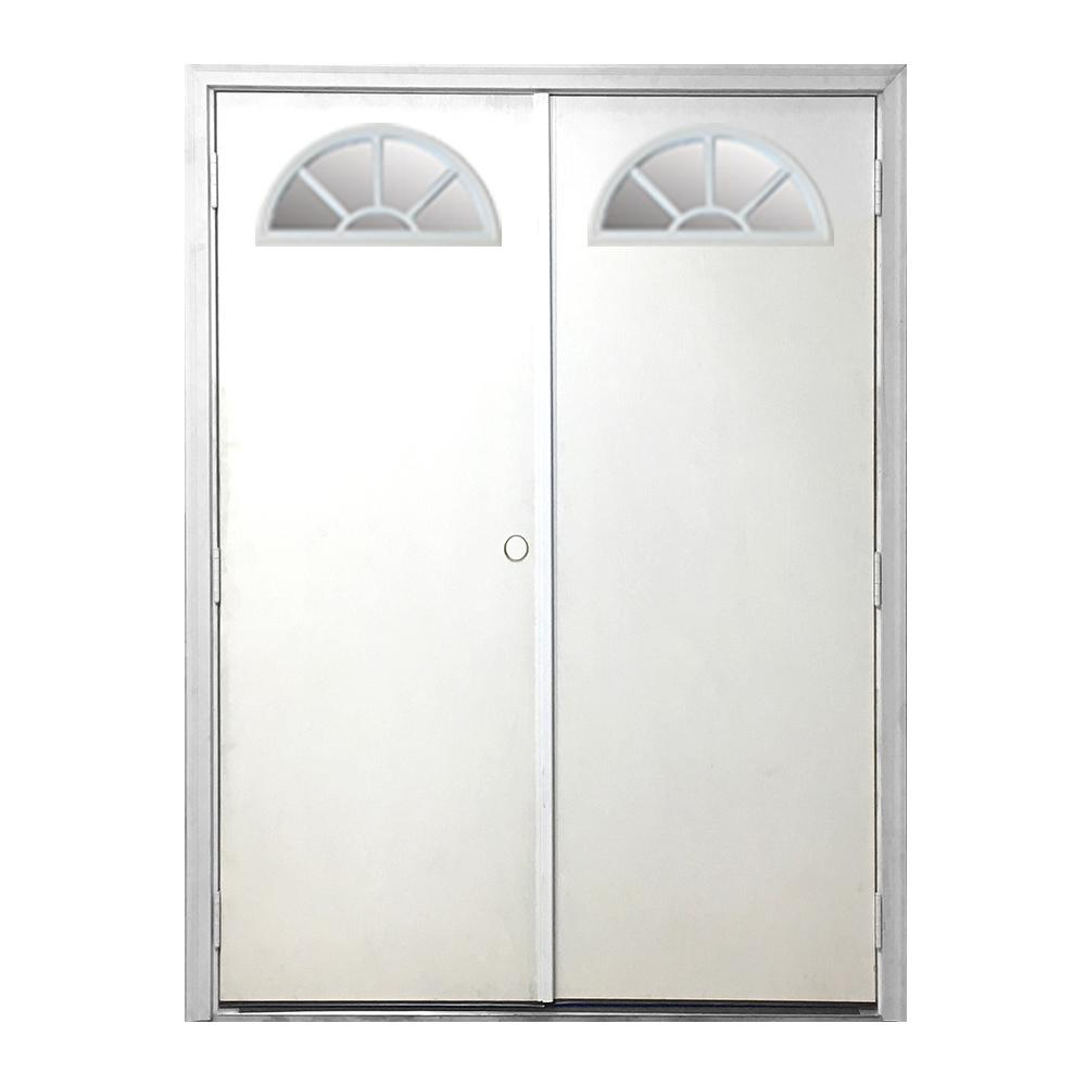 72 in. x 80 in. Garden Shed Fan Lite White Primed