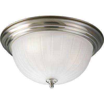 3-Light Brushed Nickel Flushmount with Etched Ribbed Glass