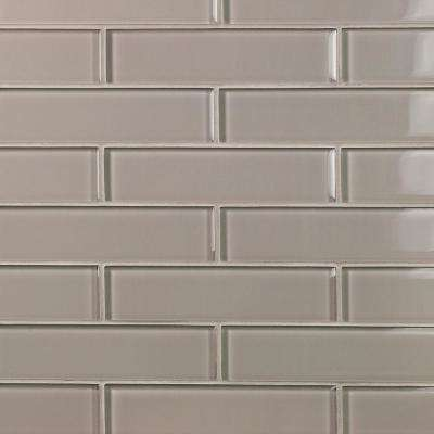 Contempo Taupe 2 in. x 8 in. x 8mm Polished Glass Floor and Wall Tile (1 sq. ft.)