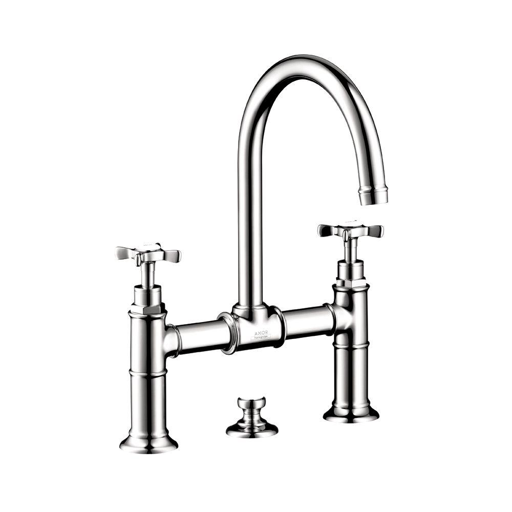 Hansgrohe Axor Montreux 2-Handle Bridge Kitchen Faucet with Cross ...