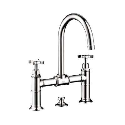 Axor Montreux 2-Handle Bridge Kitchen Faucet with Cross Handles in Chrome