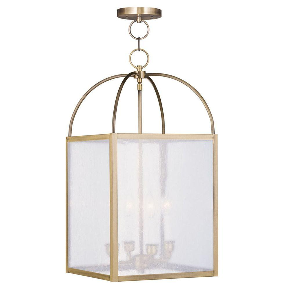 Livex Lighting Providence 4-Light Antique Brass Incandescent Pendant