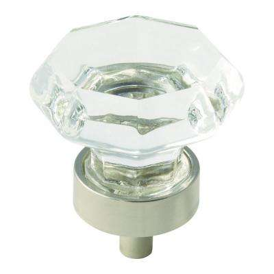 Traditional Classics 1-5/16 in (33 mm) Diameter Clear/Polished Nickel Cabinet Knob