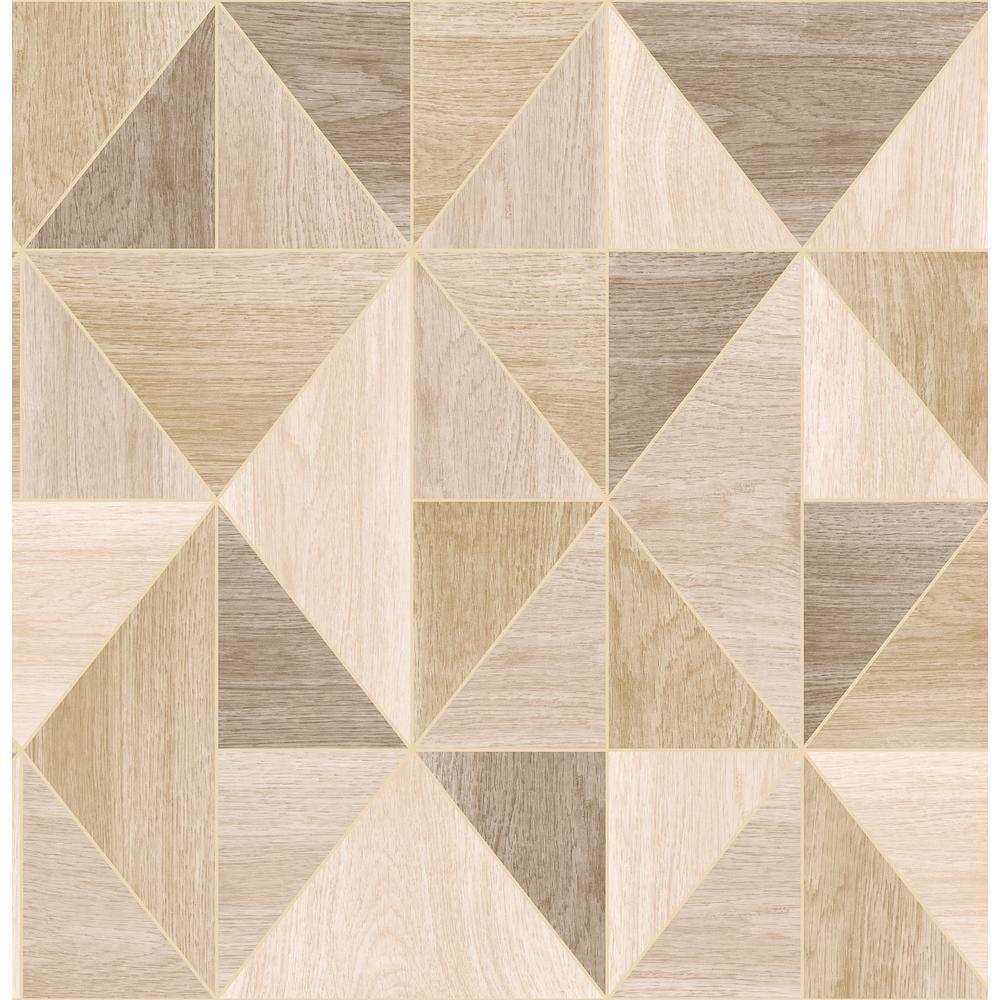 Advantage Simpson Light Brown Geometric Wood Wallpaper Sample