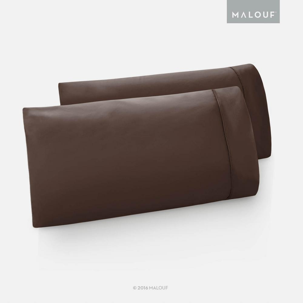 Malouf Woven Brushed Microfiber Chocolate King Pillowcase