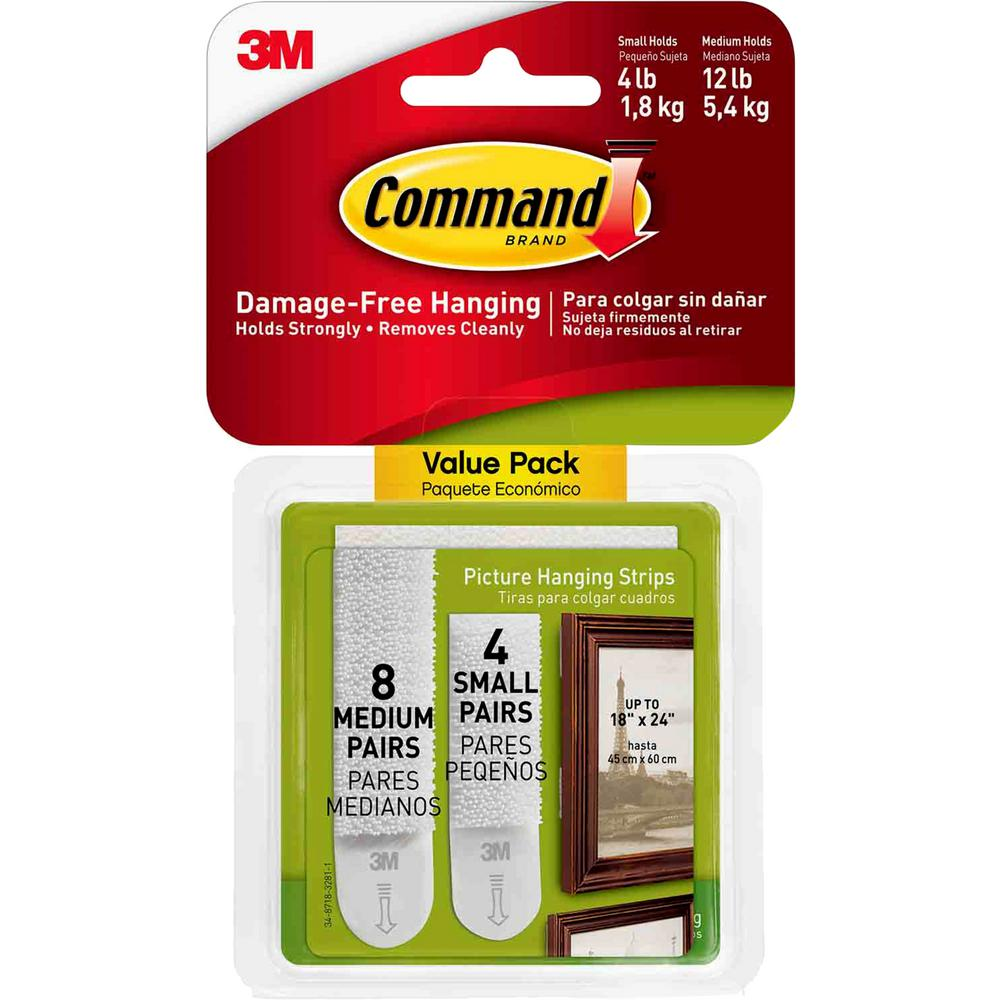 Command Small and Medium White Picture Hanging Adhesive Strips (4-Small Adhesive Strips) (8-Medium Adhesive Strips)