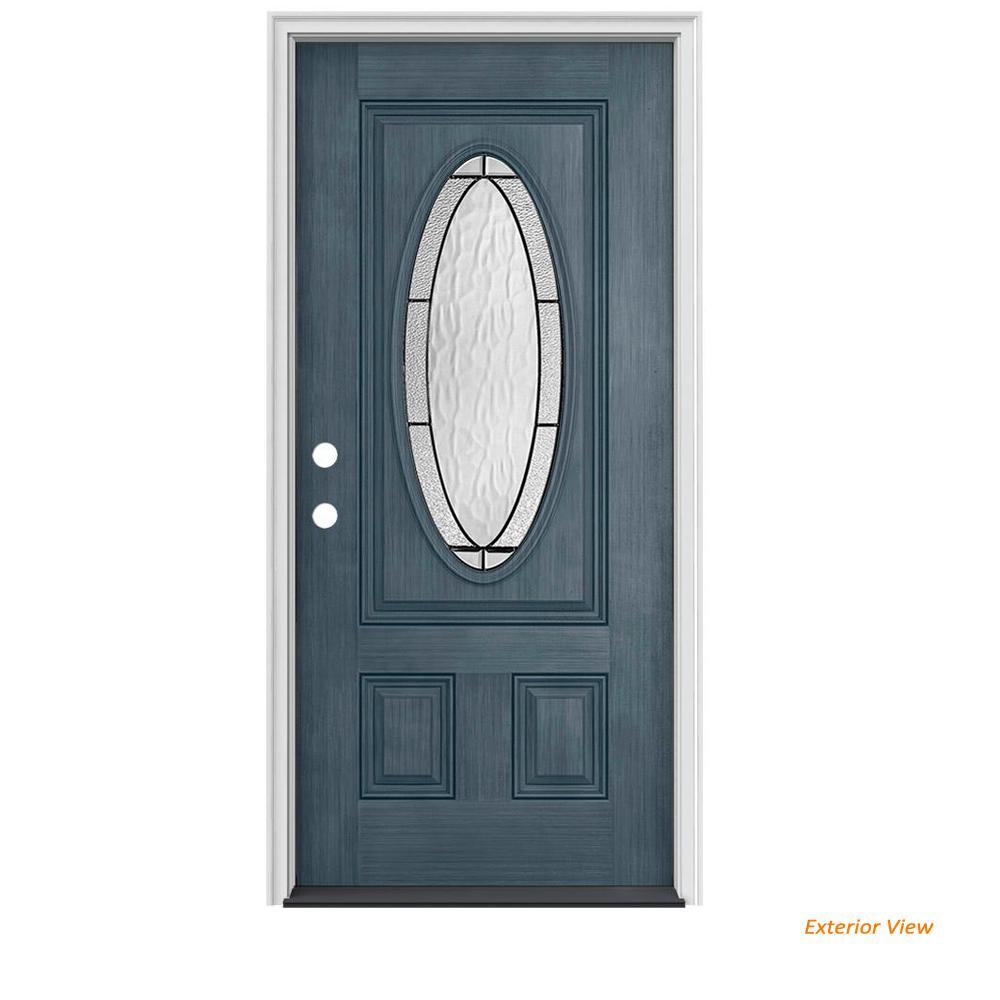 36 in. x 80 in. 3/4 Oval Lite Wendover Denim Stained Fiberglass Prehung Right-Hand Inswing Front Door