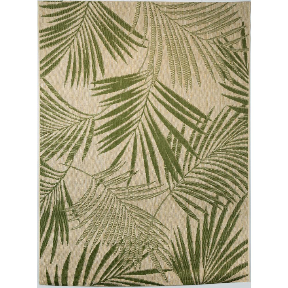 Hampton Bay Palm Leaves Green 5 Ft 3 In X 7 Ft Indoor