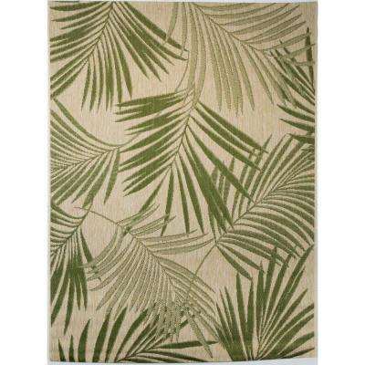 Palm Leaves Green 7 ft. 10 in. x 9 ft. 10 in. Indoor/Outdoor Area Rug
