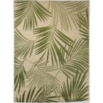 Palm Leaves Green 9 ft. x 12 ft. Indoor/Outdoor Area Rug