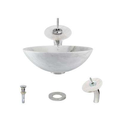 Stone Vessel Sink in Honed Basalt White Granite with Waterfall Faucet and Pop-Up Drain in Chrome