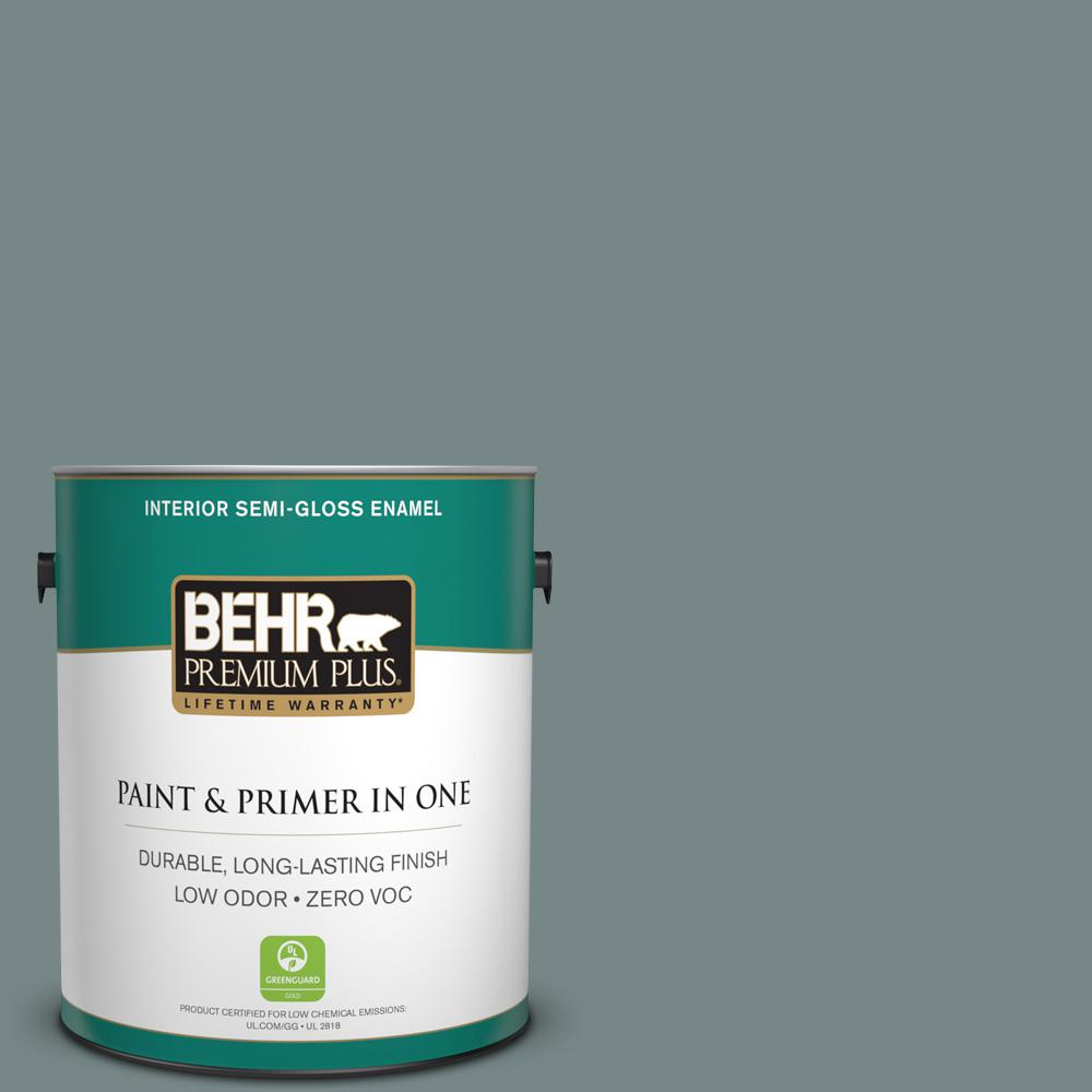 1 gal. #PPU12-16 Juniper Ash Zero VOC Semi-Gloss Enamel Interior Paint