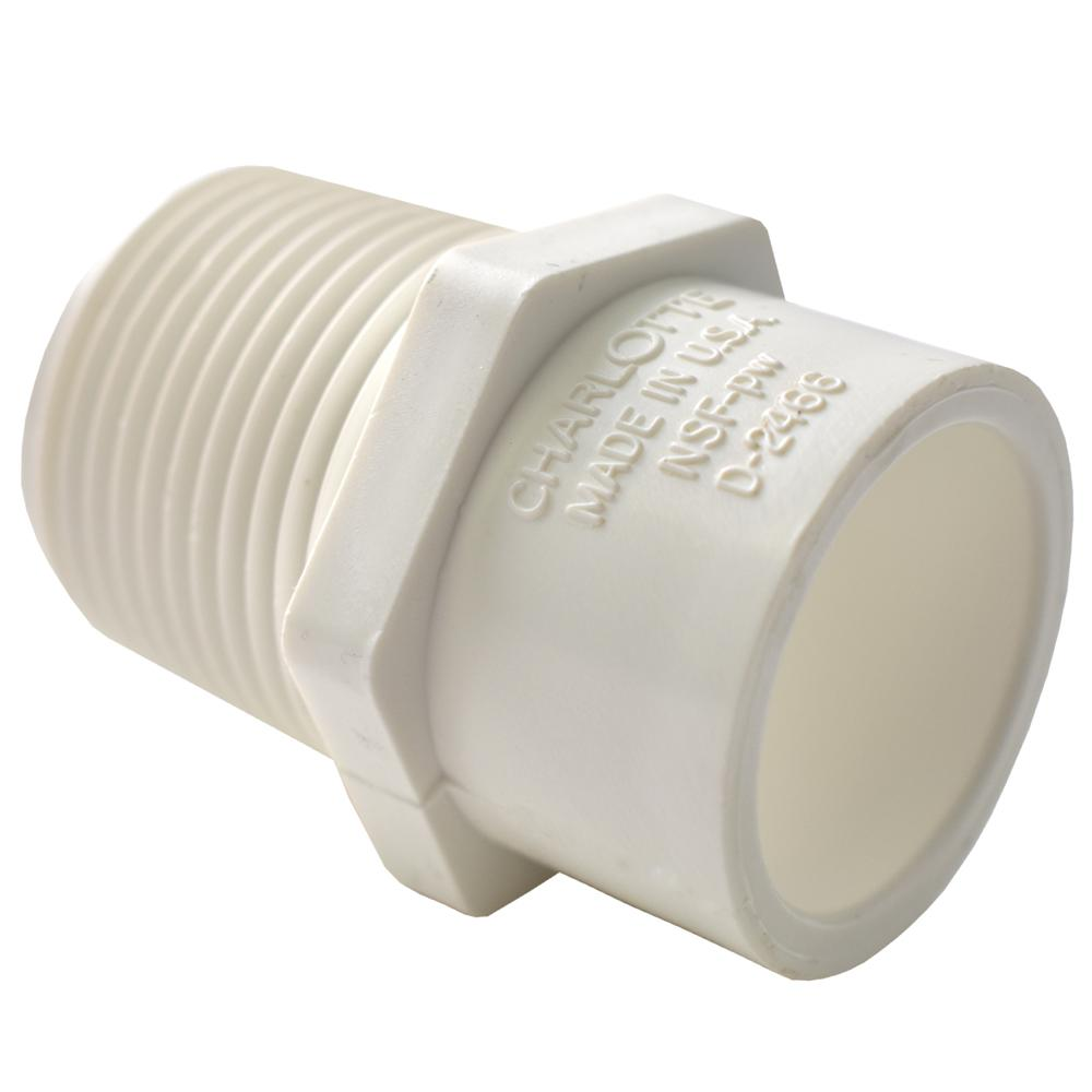 Charlotte Pipe 3/4 in. x 1/2 in. PVC Sch. 40 MPT x S Reducer Male Adapter