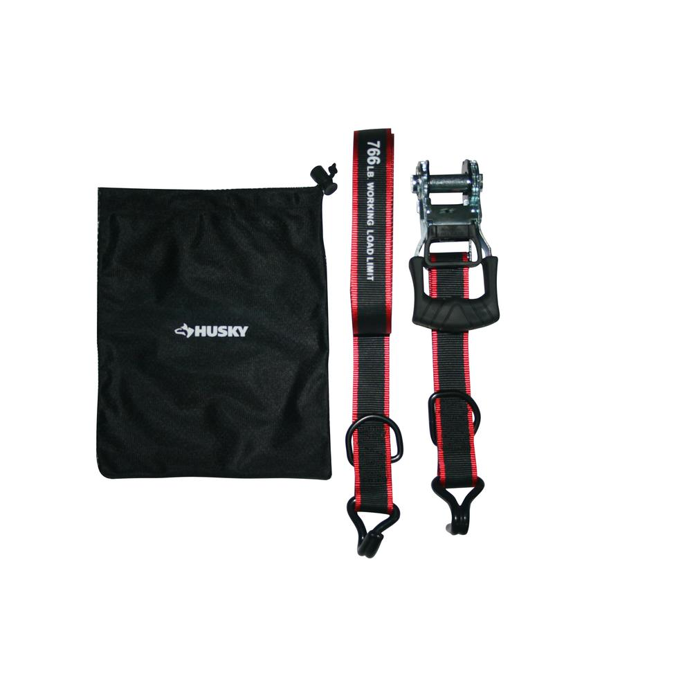 Husky 1-1/4 in. x 16 ft. Bar Ratchet Tie-Downs with Mash Bag