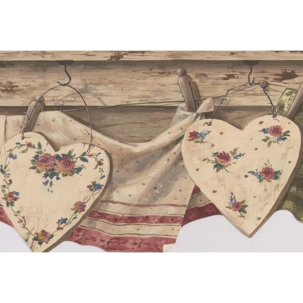 Retro Art Vintage Kitchen Clothes Drying On Line Retro Prepasted Wallpaper Border 5812146 The Home Depot