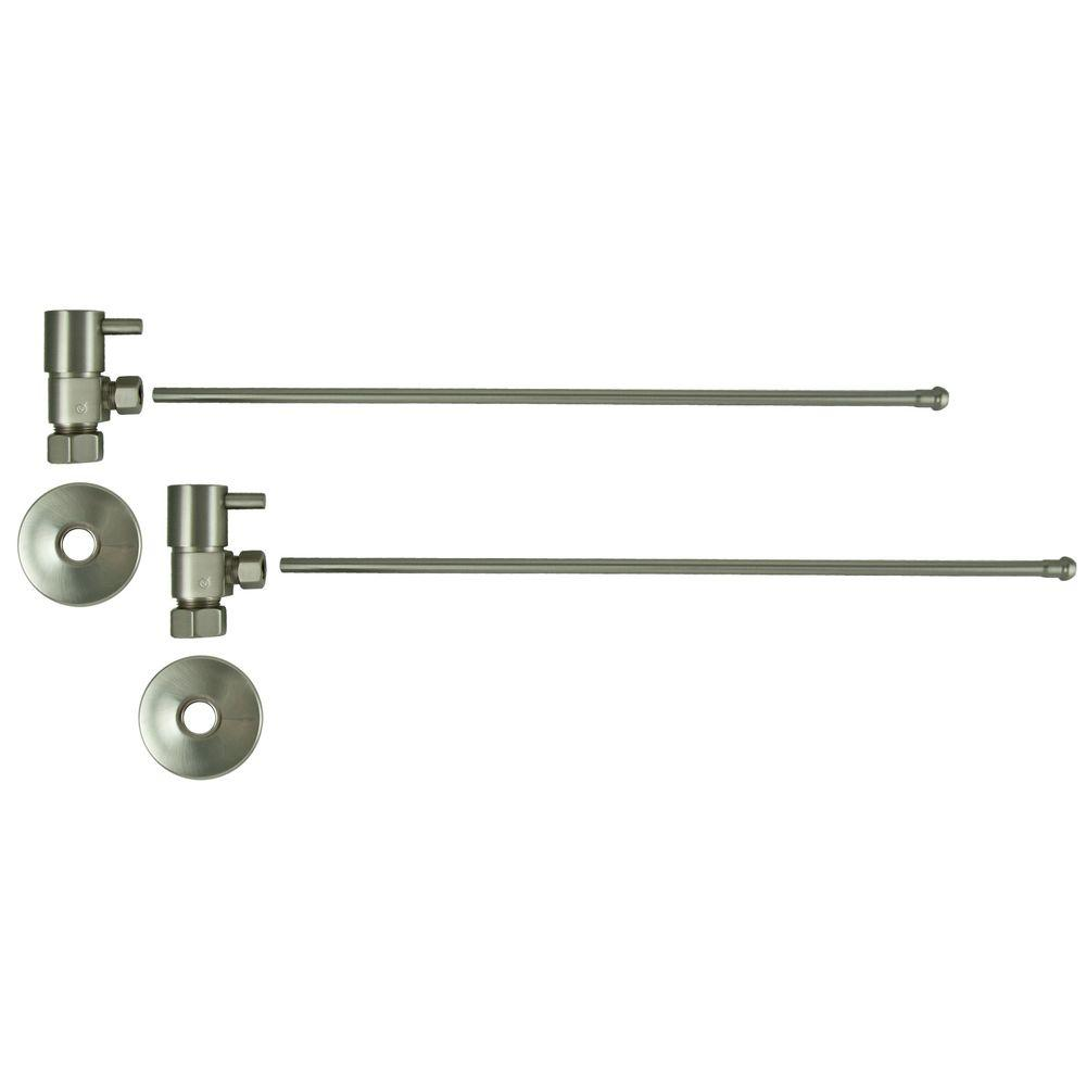 3/8 in. O.D x 20 in. Brass Rigid Lavatory Supply Lines with Lever Handle Shutoff Valves in Brushed Nickel Barclay provides all your essential bathroom needs. Enjoy the convenience of accessible water shut-off with these decorative lavatory supplies. Choose from 4 designer finishes. Color: Brushed Nickel.