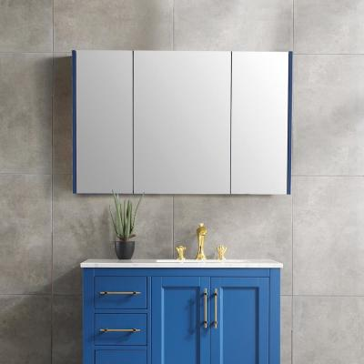 45 in. x 30 in. Surface Mount Framed 3 Door Blue Medicine Cabinet with 8 Shelves and Mirror