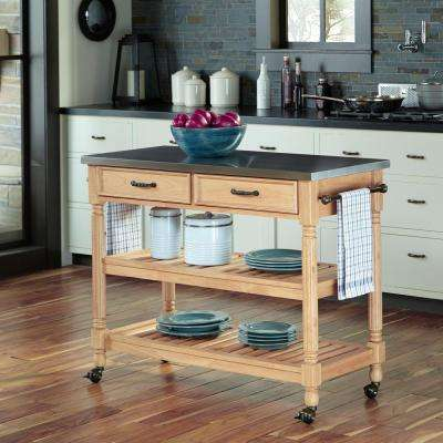 Savannah Maple Kitchen Cart With Stainless Steel Top