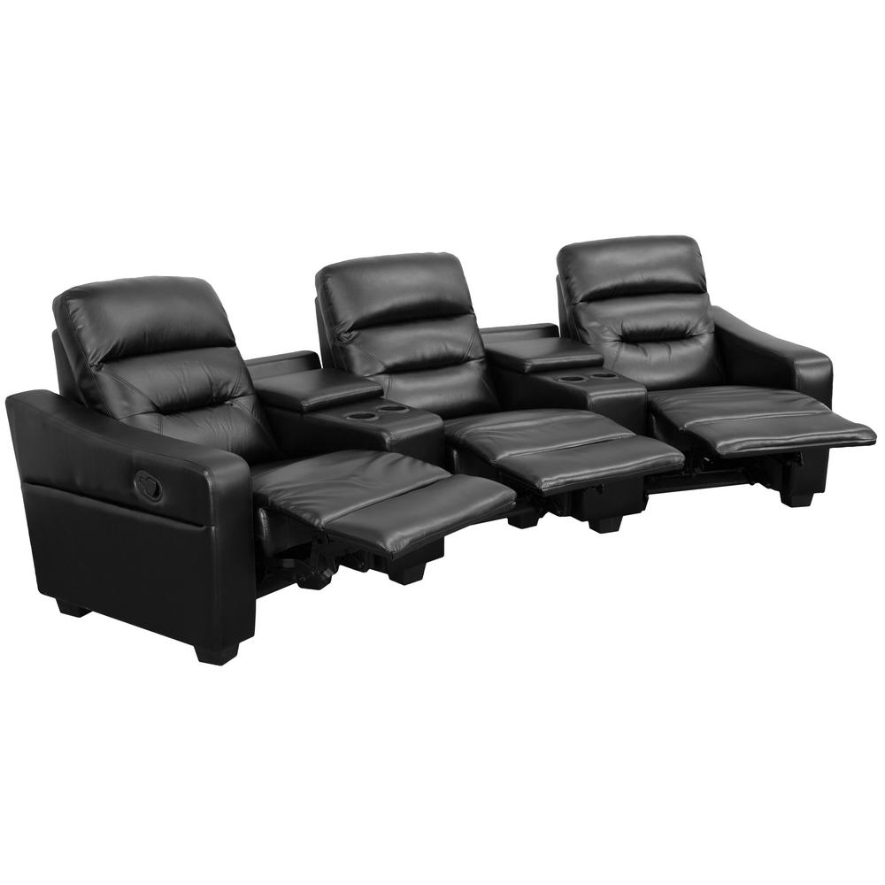 Superieur This Review Is From:Futura Series 3 Seat Reclining Black Leather Theater  Seating Unit With Cup Holders