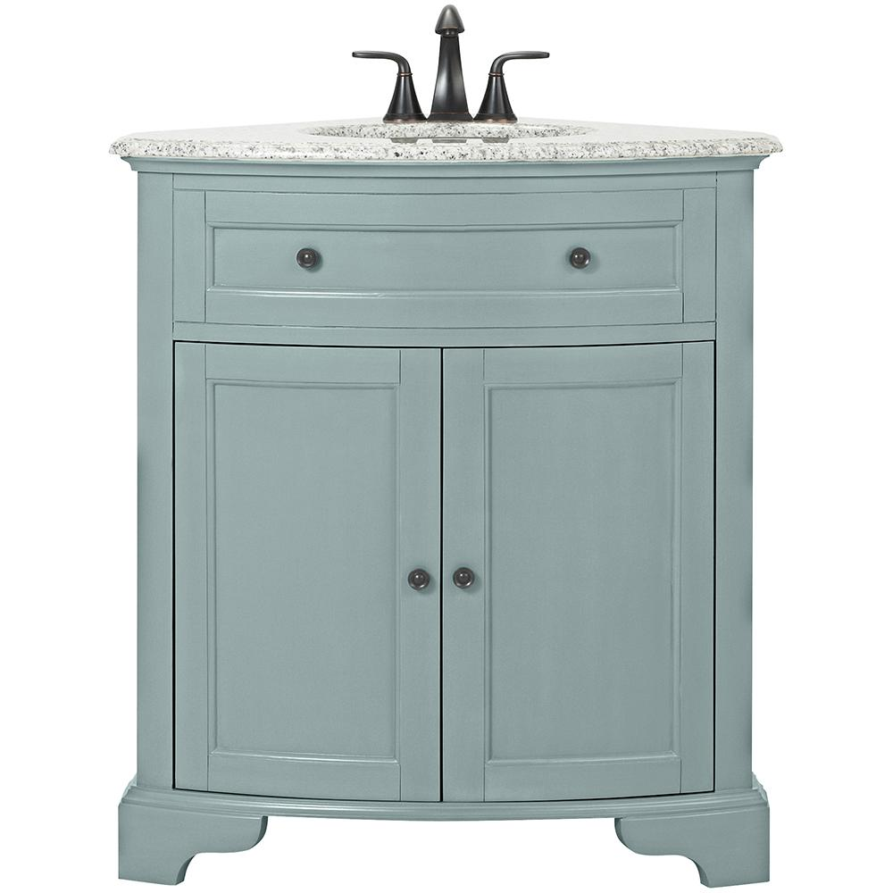 Home Decorators Collection Hamilton 31 in. W Corner Bath Vanity in Sea Glass with Granite Vanity Top in Grey and White Sink