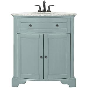 Hamilton 31 in. W Corner Bath Vanity in Sea Glass with Granite Vanity Top in Grey and White Sink