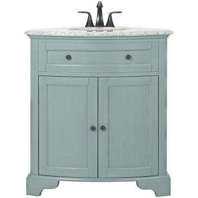 W Corner Bath Vanity In Sea Glass With Granite Vanity Top In