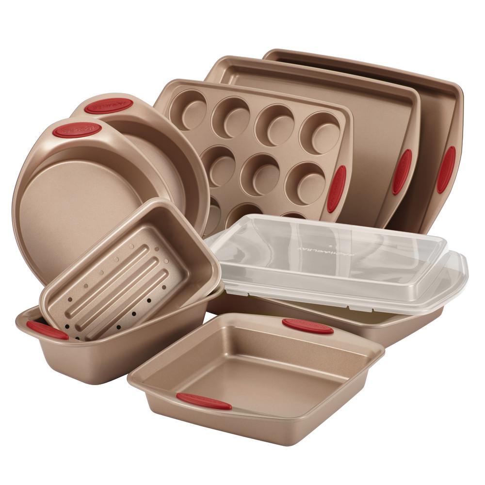 Cucina 10-Piece Latte and Cranberry Bakeware Set