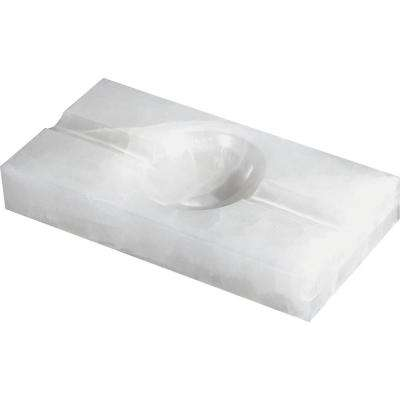 Azure White Rectangle Onyx Stone Cigar Ashtray