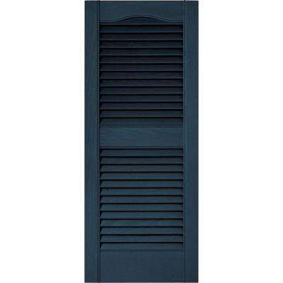 15 in. x 36 in. Louvered Vinyl Exterior Shutters Pair in #036 Classic Blue