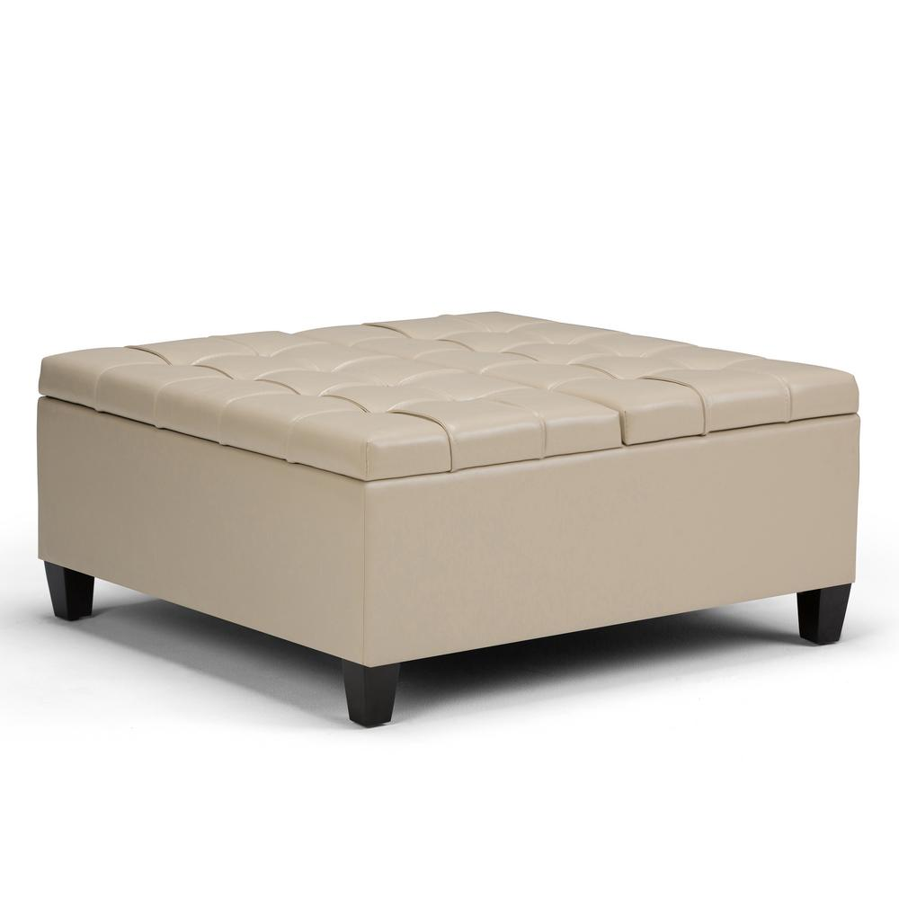 Simpli Home Harrison Satin Cream PU Faux Leather Coffee Table Storage  Ottoman