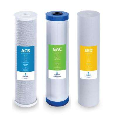 Whole House Water Filter Set 3 Stage Filtration Replacement Sediment, Charcoal, Carbon 5 Micron 4.5 in. x 20 in.