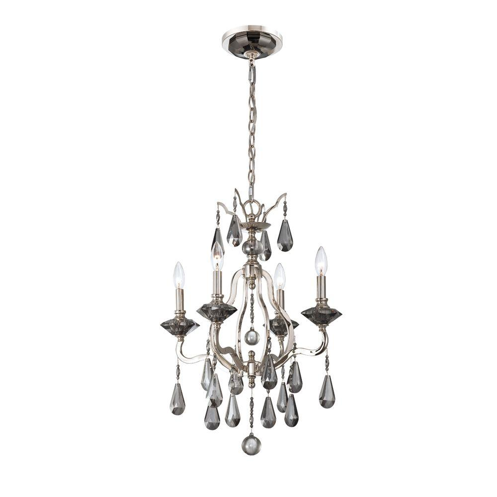 Eurofase Rosini Collection 4-Light Polished Nickel Chandelier -Discontinued